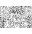 coloring book page with rectangle floral pattern vector image vector image