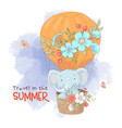 Cute cartoon elephant in a balloon with flowers