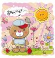cute cartoon teddy bear on the meadow vector image vector image
