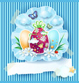 easter eggs and banner on cardboard background vector image vector image