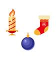 flat winter holiday christmas symbols set vector image vector image
