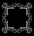 floral frame decorative square border on black vector image