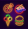 food and cafe neon signs on dark background vector image vector image