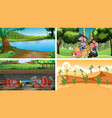 four scenes with people and animals vector image vector image
