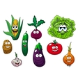 Fresh tasty cartoon vegetables characters vector image vector image