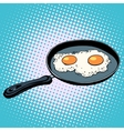 Frying pan with fried eggs finished dish vector image