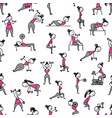 girls doing sport exercises seamless pattern for vector image vector image