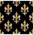 Golden fleur-de-lis seamless pattern over black vector image vector image
