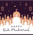 happy eid mubarak background mosque vector image vector image