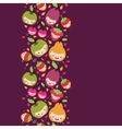 Happy fruit characters vertical seamless pattern