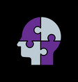 human s head with puzzles for psychology concept vector image