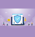 internet security concept with browser and people vector image vector image