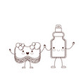 kawaii cartoon sponge and detergent bottle holding vector image