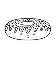 line kawaii nice donut tasty snack vector image vector image