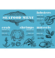 Menu seafood restaurant food template placemat vector image vector image