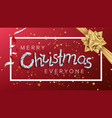 merry christmas text realistic bow vector image vector image