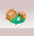 modern room baby crib banner isometric style vector image