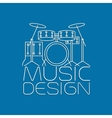 Music design with drum kit logo vector image vector image