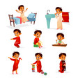 muslim boy kid daily routine cartoon vector image vector image