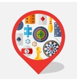 Navigation marker with game icons in flat design vector image