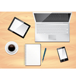 office desk laptop background vector image vector image
