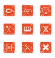 pull icons set grunge style vector image vector image