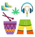 rastafarian cannabis peace ganja icons set in flat vector image vector image