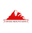 red emblem with swiss mountains vector image vector image