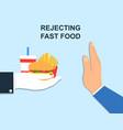 rejecting offer junk food vector image