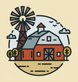 round logotype with farmland landscape country vector image