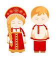 russian man and woman vector image vector image