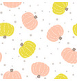 seamless pattern with colored pumpkins on white vector image vector image