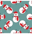 Seamless pattern with cute snowmen vector image vector image