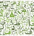 Seamless pattern with green arabic letters vector image vector image