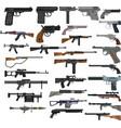 set cartoon colored gun icons machine gun vector image