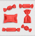 set red packs for sweets and candy realistic vector image vector image