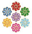 Seven Precious Flower Isolated Objects vector image vector image