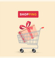 shopping gift box in cart background image vector image vector image