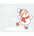 skating white snowman with red scarf on g vector image