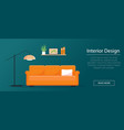 sofa lamp and bookshelf in flat style vector image vector image