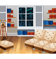Studyroom with sofa and books vector image vector image