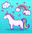 sweet unicorn on a blue background with a rainbow vector image vector image