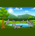 the zebras are enjoying nature in beautiful fields vector image vector image