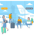 travellers at airport departure area vector image