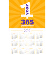 wall calendar poster for 2019 year design print vector image vector image