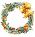 watercolor christmas wreath vector image vector image