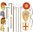 Weapon and armor of ancient soldiers vector image
