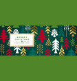 year gold folk pine tree banner vector image