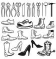 shoe repair design elements tools for shoe repair vector image