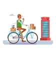 Retro postman on a bicycle vector image